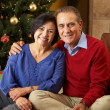 Senior Couple Exchanging Gifts In Front Of Christmas Tree — ストック写真