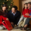 Foto Stock: Multi Generation Family Opening Christmas Presents In Front Of T