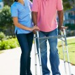 Stock Photo: Carer Helping Senior MWith Walking Frame