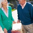 Senior Couple Walking In Park Together With Picnic Basket — Stockfoto