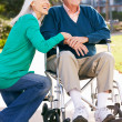 Senior Woman Pushing Husband In Wheelchair — Stock Photo #24648031