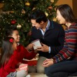 Family Opening Presents In Front Of Christmas Tree — Stok fotoğraf