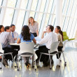 Business People Having Board Meeting In Modern Office - Stok fotoğraf