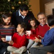 Stock Photo: Multi Generation Family Opening Christmas Presents In Front Of T