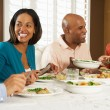 Group Of Friends Enjoying Meal At Home — Stock Photo