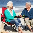 Stock Photo: Senior Couple Sitting On Beach In Deckchairs Having Picnic