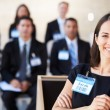 Businesswoman Delivering Presentation At Conference — Foto Stock