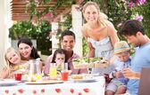 Vrouw maaltijd serveren aan twee families — Stockfoto