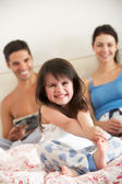 Family Relaxing In Bed Together — Stock Photo