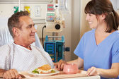 Patient Being Served Meal In Hospital Bed By Nurse — Stock Photo