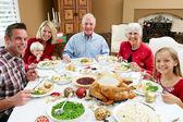 Multi génération famille fête avec repas de noël — Photo