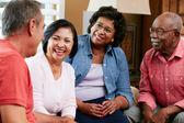 Groep senior vrienden chatten thuis samen — Stockfoto