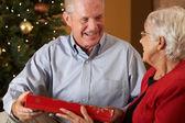 Coppia senior, lo scambio di doni davanti all'albero di natale — Foto Stock