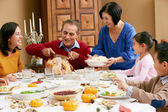 Multi Generation Family Celebrating With Christmas Meal — Стоковое фото