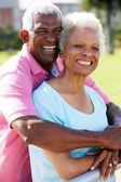 Outdoor Portret van gelukkige senior paar — Stockfoto