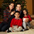 Family In Front Of Christmas Tree - Stock Photo