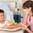 Nurse Serving Child Patient Meal In Hospital Bed — Stock Photo