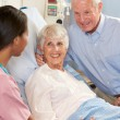 Stock Photo: Nurse Talking To Senior Couple On Ward