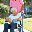 Senior Woman Pushing Unhappy Husband In Wheelchair — Stock Photo #24650939