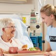 Teenage Volunteer Serving Senior Female Patient Meal In Hospital — Stock Photo #24651441