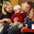 Family Opening Presents In Front Of Christmas Tree — Stock Photo #24652177