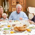 Multi Generation Family Celebrating Thanksgiving — Stock Photo
