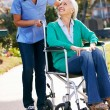 Carer Pushing Senior Woman In Wheelchair — Stock Photo #24652333