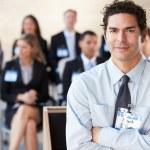 Businessman Delivering Presentation At Conference — Stock Photo