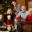 Multi Generation Family Opening Christmas Presents — ストック写真