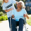 Teenage Volunteer Pushing Senior Woman In Wheelchair — Stock Photo
