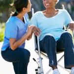 Carer Pushing Senior Woman In Wheelchair — Stock Photo #24653709
