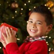 Boy Holding Christmas Present In Front Of Tree — Stockfoto