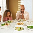 Family Saying Grace Before Meal At Home — Stock Photo