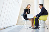 Businessman And Businesswoman Meeting In Modern Office — Stock Photo