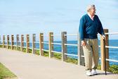 Starší muž, chůze podél cesty u moře — Stock fotografie