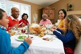 多世代家族のクリスマスの食事を祝う — ストック写真