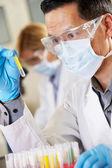 мужской ученый, изучающий пробирку в лаборатории — Стоковое фото