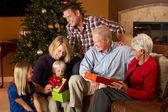 Multi Generation Family Opening Christmas Presents — Stock Photo