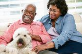 Happy Senior Couple Sitting On Sofa With Dog — Stock Photo