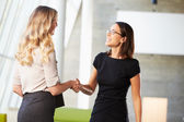 Two Businesswomen Shaking Hands In Modern Office — Stock Photo