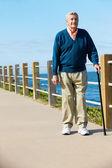 Senior man lopen langs het pad door de zee — Stockfoto
