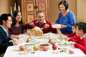 Multi generatie familie vieren met kerst maaltijd — Stockfoto