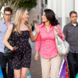 Two Couples With Bored Men Carrying Partners Bags - Foto Stock