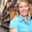 Businesswoman Using Headset In Distribution Warehouse - Stock Photo