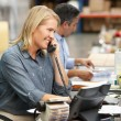 Stock Photo: Businesswoman Working At Desk In Warehouse
