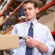 Stockfoto: BusinessmScanning Package In Warehouse