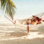 Romantic Couple Relaxing In Beach Hammock — Stock Photo