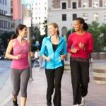 Group Of Women Power Walking On Urban Street — Stock Photo
