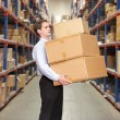 Stock Photo: Man Carrying Boxes In Warehouse
