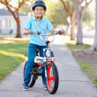 Boy Wearing Safety Helmet Riding Bike — Stock Photo